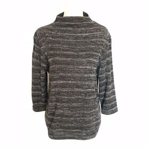 Tops - Charcoal Marled Knit Mock Neck Top